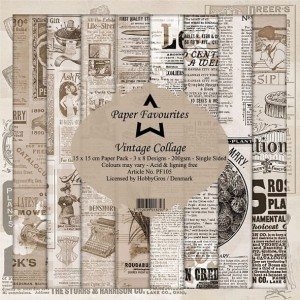 Papier do scrapbookingu 15x15cm Dixi Craft VINTAGE COLLAGE zestaw 24 arkuszy
