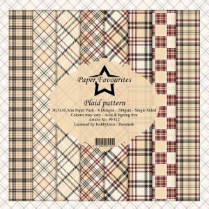 Papier do scrapbookingu 30,5x30,5cm Dixi Craft PLAID PATTERN zestaw 8 arkuszy
