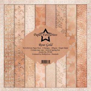 Papier do scrapbookingu 30,5x30,5cm Dixi Craft ROSE GOLD zestaw 8 arkusz
