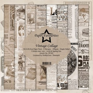 Papier do scrapbookingu 30,5x30,5cm Dixi Craft VINTAGE COLLAGE zestaw 8 arkuszy