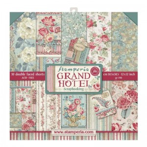 Papier do scrapbookingu 30,5x30,5cm Stamperia GRAND HOTEL zestaw 10 arkusz