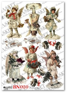 Papier do decoupage Asket BN 020 Victorian Angels with Marry Christmas II