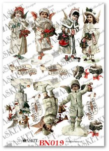 Papier do decoupage Asket BN 019 Victorian Angels with Marry Christmas