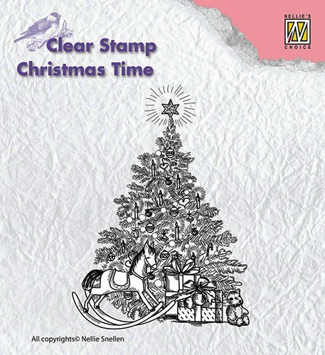Stempel akrylowy Nellie's Choice Christmas tree with gift CT017